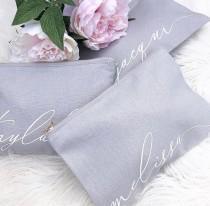 wedding photo - Personalised canvas Monogram Makeup Bag - Cursive Script CUSTOM NAME Teal Blush Pink Grey Black Make Up Bag - Bridal Party Bridesmaid Gifts