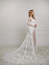 wedding photo - Long lace robe, bridal robe with train, maxi bridal robe, bridesmaid robe, dressing gown, chantilly lace, boudoir robe, sheer robe