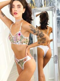 wedding photo - Custom made bra and panty See through bra and panties Floral embroidered thong Mesh lingerie set floral Embroidered lingerie set Sheer panty