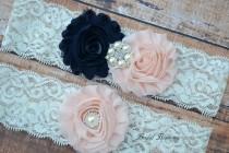 wedding photo - Blush Navy Ivory Pearl Bridal Garter Set