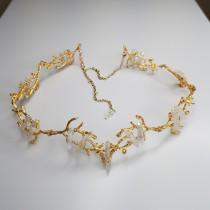 wedding photo - Gold Branch Crown - White Clear Crystal Tiara, Elven Circlet, Snow Queen, Mermaid Headpiece, Evil Queen, Wedding wreath, Wedding jewelry