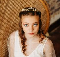 wedding photo - Rhinestone Wedding Tiara with Pearls Crystal Leaves and Flowers,  Handmade Beaded Boho Bridal Tiara