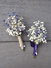 wedding photo - Wedding Lavender and Baby's Breath Boutonnieres, Dried Flower Boutonniere, Lavender Boutonniere, Dried Flowers, Rustic Dried Boutonnieres