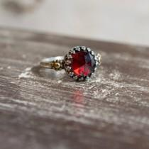 wedding photo - Garnet Engagement simple silver gold floral crown ring - The magic moment R2264
