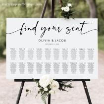 wedding photo - Seating Chart Template, Modern Calligraphy, Editable & Printable, Templett Instant Download, Try Before Purchase