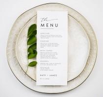 wedding photo - Minimalist Wedding Menu Template, Modern Script Wedding Dinner Menu, Printable, Digital Download, Reception Dinner Menu Editable, DIY, #KATE