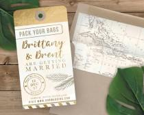 wedding photo - Luggage Tag Save the Date - Destination Wedding Save the Date Invitation - Faux Gold Foil and Watercolor
