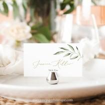 wedding photo - Place Card Template, TRY BEFORE You BUY, Greenery Leaf, Editable Instant Download