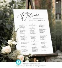 wedding photo - Alphabetical seating chart, Wedding Seating Chart Template, Table Arrangement, Seating Plan, seating chart 3 sizes templett, SCA-09
