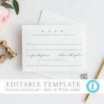 wedding photo - Modern RSVP Card Simple modern Wedding Please Respond Card Wedding Response Wedding RSVP Template Wedding Insert Editable Template DIY 10