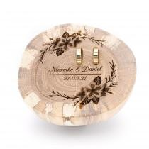 wedding photo - Ring pillow wood for wedding, cherry blossom