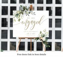 wedding photo - Greenery Gold Engagement Sign, Edit With Templett, Fully Editable Template, Welcome Printable, Party Poster, Instant Download, Boho DIY #c61