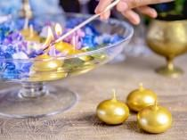 wedding photo - 3 Gold Floating Candles, Gold Wedding Candle, Gold Decorations, Table Candles, Party Decorations, Gold Party Decorations
