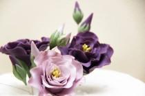 wedding photo - Lilac lisianthus ... Handmade edible wedding cake flowers toppers.edible cake decorations. sugar flowers  fondant , gumpaste