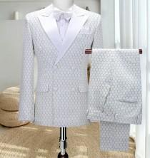 wedding photo - Suit, suit, wedding suit made of Serge goods in white. light green