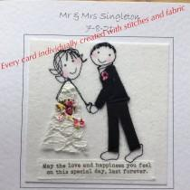 wedding photo - Textile personalised  bride and groom wedding card. embroidered textile card for wedding. I can print  names and date at the top of the card
