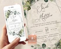 wedding photo - REESE - Geometric Silver Wedding Invite By Mail, Evite Template, Digital Invitation, Electronic Greenery Customizable Editable Download