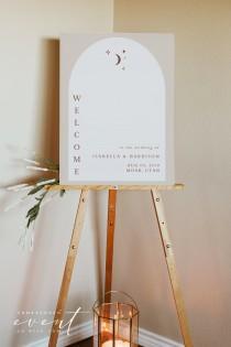 wedding photo - CELESTE Arched Boho Wedding Welcome Sign Template, Terracotta Wedding Welcome Poster Printable, Celestial Welcome Sign, Lunar Wedding DIY
