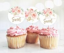 wedding photo - Love is Sweet Cupcake Toppers, Printable Bridal Shower Cupcake Toppers, 2-inch, Blush Pink Floral, VWC95