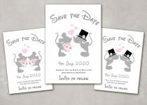 wedding photo - 10 x Personalised Disney Minnie & Mickey Mouse kissing Wedding, Mr and Mrs, Mr and Mr, Mrs and Mrs Save the Date Cards with Envelopes