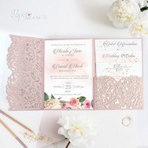 wedding photo - Beautiful Luxury Pink Blush Laser Cut Wedding Invitations Folder -Pocket -Heart We Do - Day Invite, Evening Invite, Guest Information, RSVP