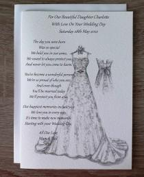 wedding photo - Handmade Personalised A5 To Daughter On Her Wedding Day Card Hand Drawn Design (C500)