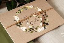 wedding photo - Rustic Wedding Invitation. White Floral & Greenery Kraft Effect. Greenery Wedding Invites, Concertina wedding. Eucalyptus, twine, vellum.