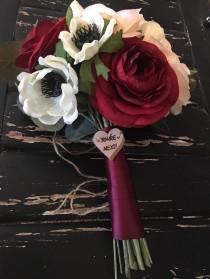 wedding photo - Wedding Toss Bouquet Charm - YOU'RE NEXT!  - wooden heart charm - natural wood