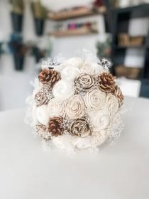 wedding photo - Ivory Sola Wood Flower Bouquet with Pine Cones