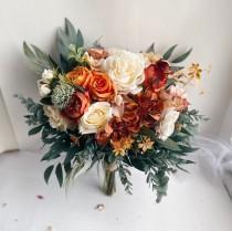 wedding photo - Bridal bouquets burnt orange, faux wedding bouquet, bridesmaid bouquets, rust bouquets, brown bouquets, orange silk bouquets wedding