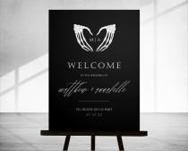 wedding photo - Scylla: Halloween Wedding Welcome Sign, Gothic Halloween Wedding Sign, Skull Welcome Sign Template, Welcome Sign Instant Download, 18x24