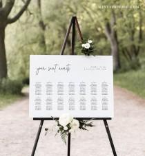 wedding photo - Minimalist Seating Chart Poster, Printable Modern Wedding Seating Sign, Instant Download, Editable Template, Templett, US & UK #095A-262SC