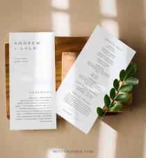wedding photo - Minimalist Wedding Program Template, Modern & Simple Order of Service, Editable, Printable Program, Instant Download, Templett #094-235WP
