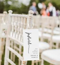 wedding photo - Modern Reserved Seating Tag, Wedding Reserved Row Card, Minimalist Reserve Chair, Editable Template, INSTANT DOWNLOAD, Templett #0009-103RS
