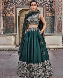 wedding photo - Green Embroidery Work Lehenga Choli for Women or girls Party wear And Wedding Wear Lengha Choli indian wedding outfit