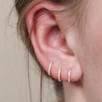 wedding photo - Gold Huggie Hoop Earrings Set, Tiny Cz Hoop Earrings, Second Hole Hoop Earrings, Cartilage Hoop, Minimalist Gold Conch Hoop, Pave Ring Hoops