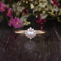 wedding photo - Akoya Pearl Engagement Ring 4mm Flower Halo Solitaire Ring Natural Diamonds Mini Dainty Band Promise Gift For Her Floral Pink Pearl Ring