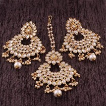 wedding photo - BALAJI COLLECTION Gold Plated Kundan & Pearl Earring Set Party Wear Bollywood Style Traditional Maang Tikka for Women