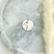 wedding photo - Personalised Birth Flower Necklace, 925 Sterling Silver-Plated Minimalist Flower Pendant, Engraved Botanical Disc Jewelry, Birthday Gift