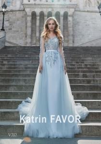 wedding photo - Blue Wedding Dress Alternative Wedding Dress Wedding Guest Dress Long Sleeve Evening Dress Light Blue Evening Gown Colorful Wedding Dress