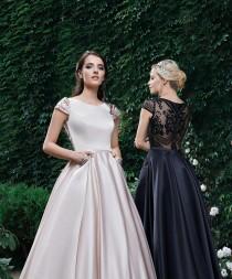 wedding photo - Black Satin Gala Dress,Short Sleeve Brides Mother Dress,Elegant Pockets Skirt,Embroidered Back Dress,Pale Satin Bridesmaid Dress Long 2019