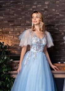 wedding photo - Blue Wedding Dress Fairy Wedding Dress Alternative Wedding Dress Prom Dress Long Blue Dress Tulle Dress Women Embroidered Dress Evening Gown