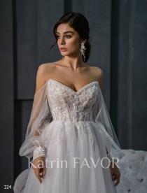 wedding photo - Boho Wedding Dress Beaded Long Sleeve Wedding Dress A Line Corset Wedding Dress Tulle Wedding Dress Bohemian Wedding Dress Off The Shoulder