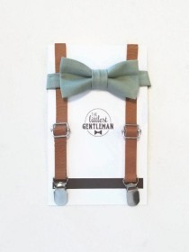 wedding photo - boys sage green bow tie  and faux leather suspenders set , suspenders, ring bearer outfit, page boy, braces, boys wedding bow, sage green