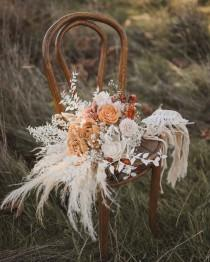 wedding photo - Bridal Bouquet, Macramé handle, Boho Wedding, Custom dyed wood flowers, Wedding Flowers, Dried Flowers, Pampas, Wedding Bouquet, Bridesmaids