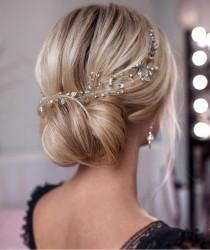 wedding photo - Bridal hair vine Crystal hair vine Wedding hair pieces Simple hair vine Crystal halo Bridal hair vines Silver hair vine Crystal headpiece
