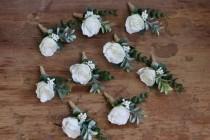 wedding photo - Wedding boutonniere for men Groom boutonniere prom Flower boutonniere eucalyptus winter boutonniere greenery boutonniere buttonhole flower