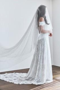 wedding photo - Amelia Veil with pearls and a blusher (blusher veil, veil with pearls, cape veil, wedding veil, bridal accessories)