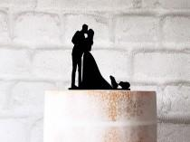 wedding photo - Guinea Pig Wedding Cake Topper With Bride Groom and 2 Guineas Silhouette