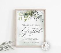 wedding photo - Wedding Guestbook Sign Template, Editable Sign, Greenery, Instant Download, Printable Sign, Wedding Decor, Watercolor, Rustic Sign, BD44